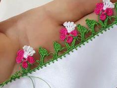 tomurcuklu-cicek-yemeni-kenar-oyasi-yapilisi Macrame, Diy And Crafts, Floral, Flowers, Handmade, Knitting, Dots, Tejidos, Amigurumi