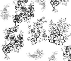 Delicate Vining Flowers fabric by rengal on Spoonflower - custom fabric