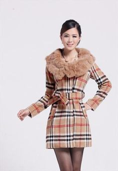#Plaid #cashmere #fur #collar #coat #clearance