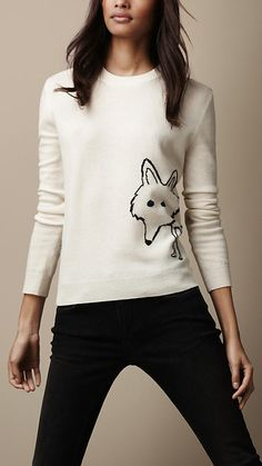 Fox Detail Wool Cashmere Sweater | Burberry