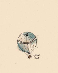 Original Hot Air Balloon Illustration Print
