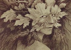 Into the Woods, 4: Wild Folklore -  a Green Woman drawing by Brian Froud