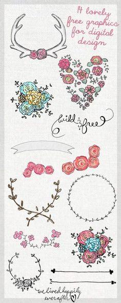 Digital design Inspiration Clip Art, 14 Lovely Free Graphics for Digital Design Digital Kunstjournal Inspiration, Doodles, Little Presents, Free Graphics, Vector Graphics, Chalkboard Art, Tattoo Studio, Doodle Art, Heart Doodle