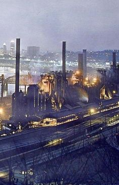 Steel Town - Pittsburgh, PA, but all the mills are gone from city limits.  Still it thrives!