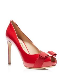 Salvatore Ferragamo Peep Toe Platform Pumps - Plum High Heel | Bloomingdale's