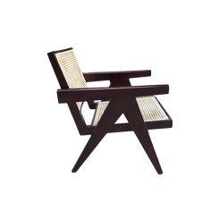 Pierre Jeanneret lounge chair-wicker-replica-Diiiz Outdoor Chairs, Outdoor Furniture, Outdoor Decor, Rattan, Wicker, Pierre Jeanneret, Lounge Sofa, Wood Colors, Traditional Design