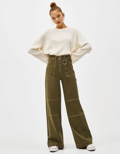 Sparkly hoop earrings - New - Bershka United States Trouser Outfits, Casual Outfits, Cute Outfits, Baggy Pants Outfit, Fashion Pants, Fashion Outfits, Womens Fashion, Trousers Women, Pants For Women