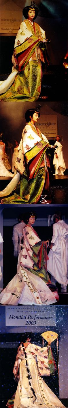 A woman wearing junihitoe Heian Era, Heian Period, Japanese Costume, Japanese Kimono, Traditional Fashion, Traditional Outfits, Japanese Textiles, Chinese Clothing, Japanese Outfits