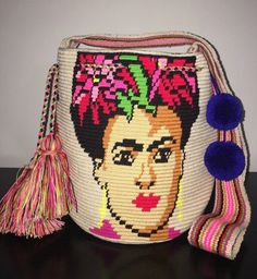Special Edition Frida Kahlo Handmade Authentic Colombian Wayuu Mochila Bag Beige  | eBay