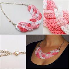 rózsaszín fehér színátmenetes kötött nyaklánc / pink white gradient knitted necklace