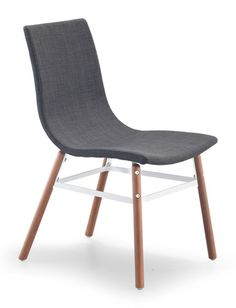 Stavanger Chair Graphite Fabric The Stavanger Chair has simple, mid-Century lines. The straightforward base is solid wood and powder covered metal. Pick black or white leatherette or tobacco, tangerine, graphite or pea fabric.<br><br>Dimensions: 18.9W, 23.62D, 34.25H