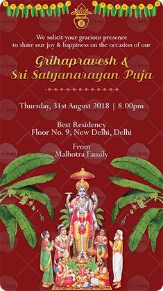 Grihapravesh Satyanarayan Puja Housewarming Invitation Idea Indian Satyanarayanpuja
