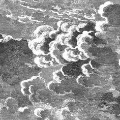 Papier peint Nuvolette noir et blanc de la collection Fornasetti II de Cole and Son. Ce papier peint représente de magnifiques nuages et est très poétique.