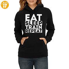 Eat Sleep Train Repeat Motivation Damen Pullover Hoodie M (*Partner-Link)