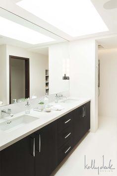 clean contemporary bathroom design | skylight | espresso vanity