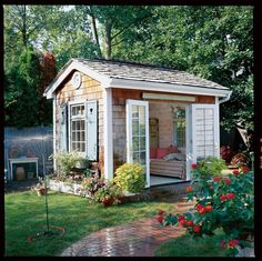 With a cosy lounger and French doors that swing open to a charming and lush garden, this she-shed is the ultimate spot for whiling away a summer afternoon. READ MORE: 7 ways to take your shed from creak to chic - countryliving.co.uk