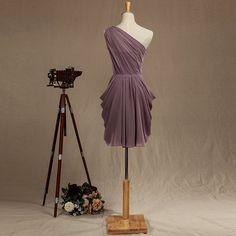 One Shoulder Chiffon Bridesmaid Dress Dusty Purple by harsuccthing