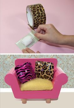 No Sew Barbie Pillows using duct tape! Could make these in any size for Barbies or American Girl Dolls.