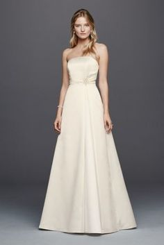 Beaded Satin Wedding Dress with Brooch OP1257