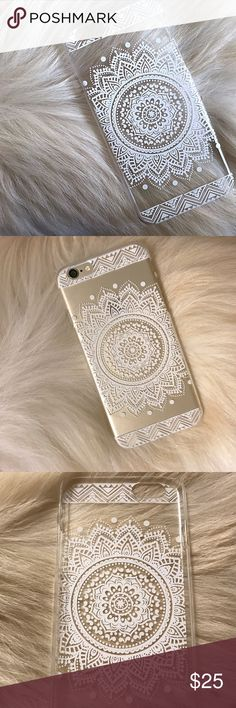 Clear White Henna iPhone 6/6s Case Clear iphone 6/6s phone case with beautiful white henna detailing. The sides are clear as well. Has slight scratching, but it is not noticeable once phone case is on the phone and it is still in very good condition. No chipping of the white henna design. The phone case does not cover the top or bottom, power button, & volume buttons. Very lovely & charming! Shows off the color of the iphone! Received many compliments(: Accessories Phone Cases
