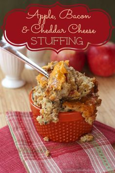 53 Recipes For Your #GlutenFree #Thanksgiving: Apple-Bacon and Cheddar Cheese Stuffing