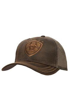 5730099a5e6 Ariat Brown Oilskin with Mesh Back Logo Velcro Back Cap