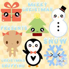 Kawaii Christmas Clip Art - Cute Xmas Clipart, Cute Holiday, Christmas Tree, Digital Stickers, Planner, Fun Free Commercial and Personal Use