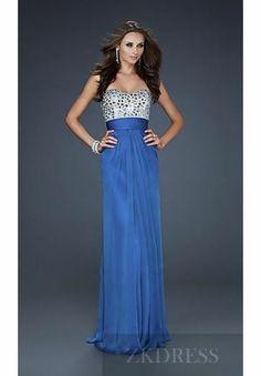 Fashion Natural Sleeveless Long Pink Chiffon Prom Dresses zkdress23636