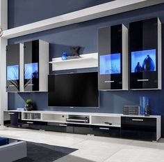 White high gloss wall tv unit with led lights Entertainment Center Kitchen, Entertainment Room, Wall Display Cabinet, Modern Tv Wall, Diy Zimmer, Blue Led Lights, Lumiere Led, Led Licht, Home Design