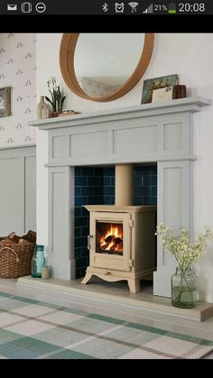 Cream log burner - don't love this one - but colour better than black- or maybe just open fire with fire basket or whatever it's called.