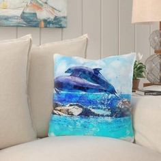 Home Decor Gift Ideas for Dolphin Lovers Floral Throw Pillows, Throw Pillow Sets, Outdoor Throw Pillows, Coastal Decor, Coastal Style, Cotton Pillow, Beach Decorations, Beach Themes, Decorative Accents
