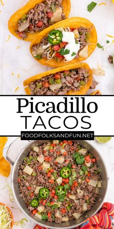 This Picadillo Tacos recipe (Tacos de Picadillo) makes crispy ground beef and potato tacos that are so easy to make. For more easy dinner recipes follow Food Folks and Fun! Potluck Recipes, Appetizer Recipes, Soup Recipes, Cooking Recipes, Italian Recipes, Mexican Food Recipes, Ethnic Recipes, Ground Beef And Potatoes, Spanish Cuisine