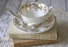 Vintage White and Gold Floral Bone China Teacup - by Royal Grafton England - circa 1957.
