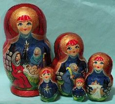 . ... nativity scene nesting doll set this is a 6 large 5 piece set russian