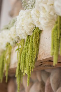 Hydrangea and Hanging Moss Mantel Decor | LuRey Photography | Coventry Crossing Florist | www.theknot.com