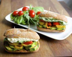 Italian Veggie Sliders with Feta+Pesto Spread