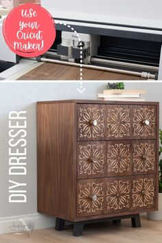 This will blow your mind! Check out this cool Cricut Maker project for woodworking. Learn how to build this easy DIY small dresser or chest of drawers with the step-by-step tutorial and woodworking plans. Add beautiful custom dresser drawer fronts with a Cricut Maker. #anikasdiylife #ad #cricut #cricutmade Scrap Wood Projects, Woodworking Projects That Sell, Beginner Woodworking Projects, Diy Furniture Projects, Diy Craft Projects, Diy Woodworking, Project Ideas, Furniture Makers, Crafts
