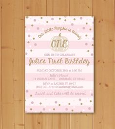 Little Pumpkin Birthday, Birthday Invitation, Little Pumpkin, Our Little Pumpkin, Fall First Birthday, Invitation Downloadable File by JMCustomInvites on Easy  Planning a Fall Birthday Party? Pin for Later! :)