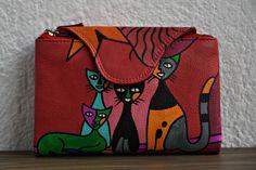 bolsas chinas rojas con cremallera y 2 gatos dibujados