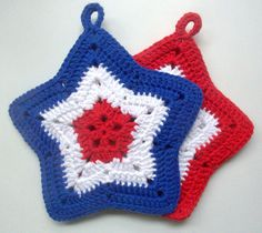 Hey, I found this really awesome Etsy listing at https://www.etsy.com/listing/192959692/4th-of-july-star-crochet-pot-holders-red