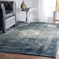 "Amazon.com: Traditional Vintage Inspired Overdyed Distressed Fancy Blue Area Rugs (5' 3"" X 7' 8""): Kitchen & Dining"