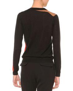 Cashmere-Blend Intarsia Knit Cardigan, Black