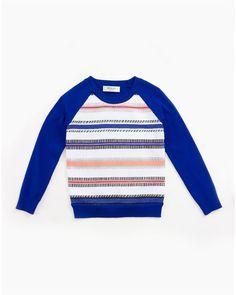 Couture-Stripe Raglan Sweatshirt, Cobalt (Blue), Size 8-14 - Milly Minis