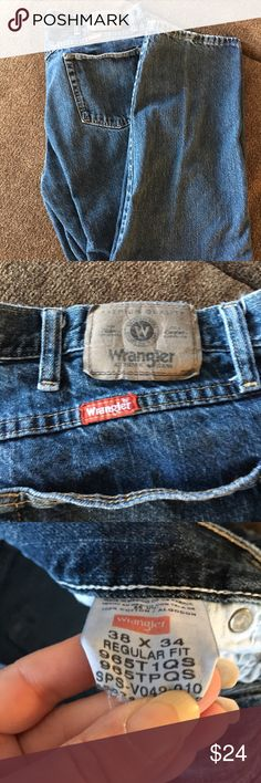 🛑MENS 38/34 EUC WRANGLER JEANS🛑 🛑EUC Mens 38W/34L Wrangler jeans, worn a  couple times but still in awesome condition. Hubby just has TOOOOO many pairs❗️Hard to find length❗️ Wrangler Jeans Straight Leg