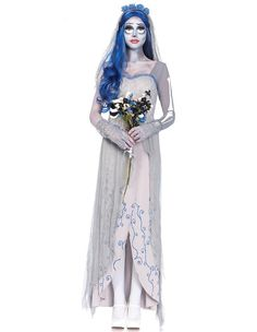 Grey Corpse Bride Cosplay Female Halloween Costume