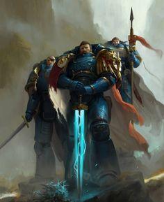 """Knights of Macragge Cover Art by Mauro Belfiore "" Warhammer 40k Art, Warhammer 40k Miniatures, Warhammer Fantasy, Ultramarines, Angel Of Death, Geek Art, Space Marine, Sci Fi Fantasy, Fantasy Artwork"
