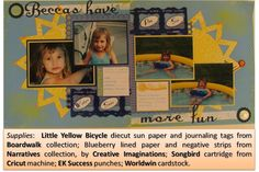 Fun in the Sun layout 2010 Sun Paper, Little Yellow Bicycle, Ek Success, Card Stock, Paper Crafts, Layout, Scrapbook, Baseball Cards, Creative