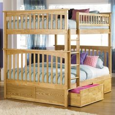 Delightful Antique Walnut Bunk Bed Set   Columbia Full Over Full Bunk Bed With Flat  Panel Bed Drawers By Atlantic Furniture