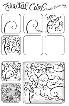 Fractal Curl by Marie Browning - zentangle, tangleDesign to draw - Draw Pattern - A New Tangle – Fractal CurlI'm a craft designer, consultant, author, teacher and lead designer for Tombow. Dibujos Zentangle Art, Zentangle Drawings, Doodles Zentangles, Zentangle Patterns, Doodle Drawings, Doodle Art, Zen Doodle Patterns, Art Patterns, Zantangle Art