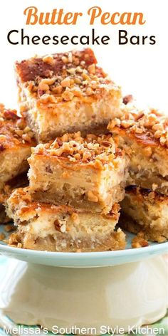 Rich and delicious Butter Pecan Cheesecake Bars #butterpecan #butterpecancheesecake #cheesecakerecipes #cheesecakebars #desserts #dessertfoodrecipes #sweets #holidayrecipes #pecans #southernfood #southernrecipes Best Dessert Recipes, Fun Desserts, Delicious Desserts, Snack Recipes, Appetizer Recipes, Appetizers, Cheesecake Bars, Cheesecake Recipes, Butter Pecan Cheesecake Recipe